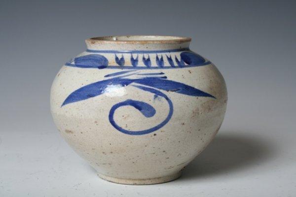19: 18th C Korean Blue & White Ceramic Vase