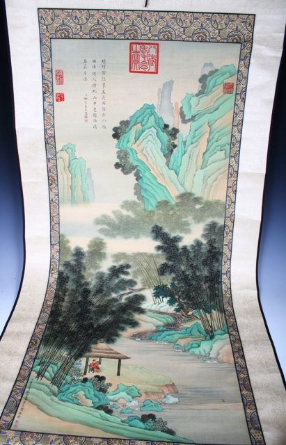 106: Large 19th C Chinese Scroll Painting of Landscape