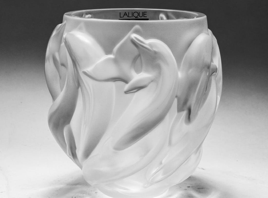 Lalique France Crystal Dolphin Vase Oceania