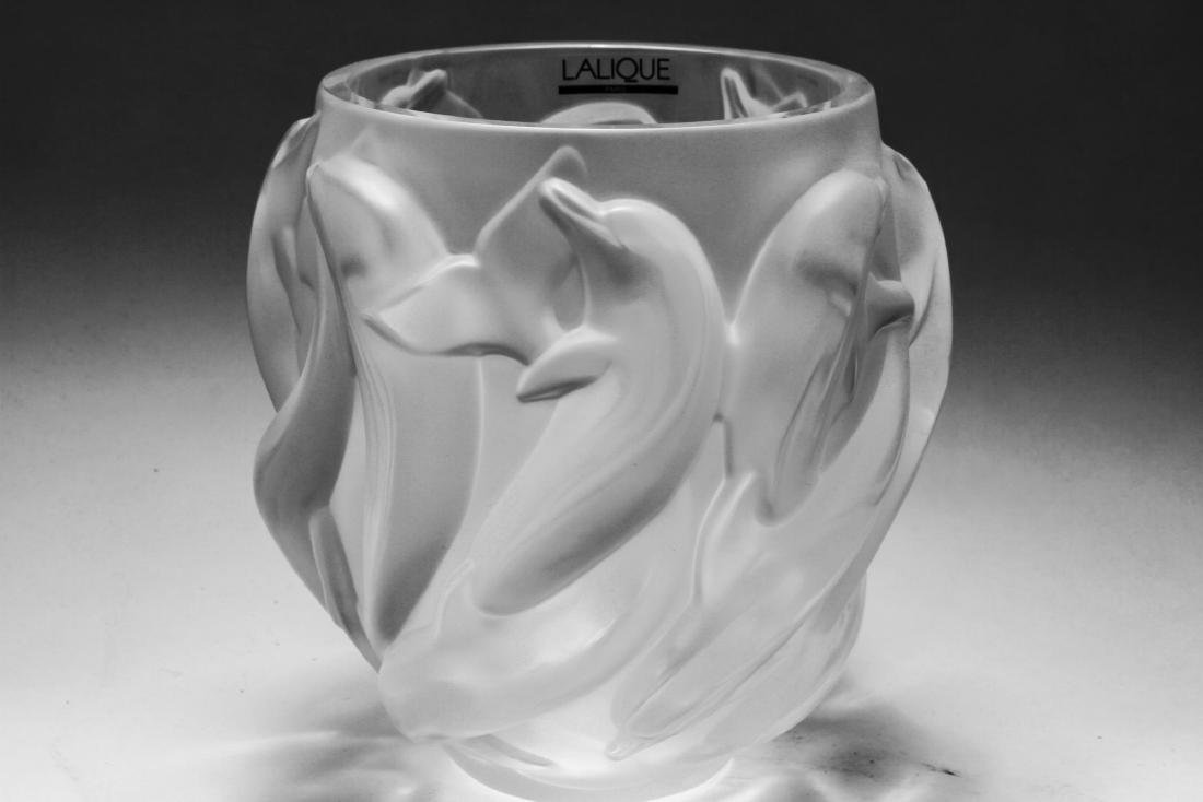 Lalique France Crystal Dolphin Vase Oceania - 3