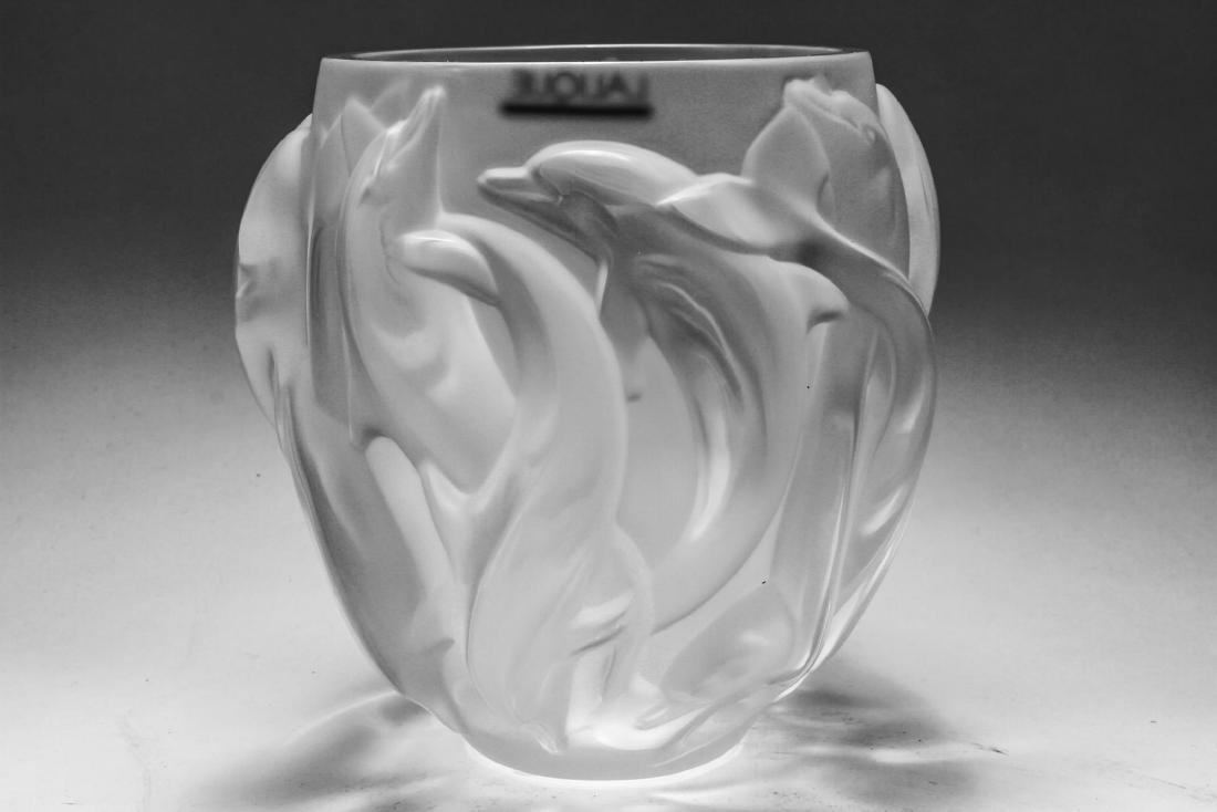 Lalique France Crystal Dolphin Vase Oceania - 5