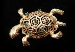 14K Gold Emeralds Rubies La Marquise Turtle Brooch