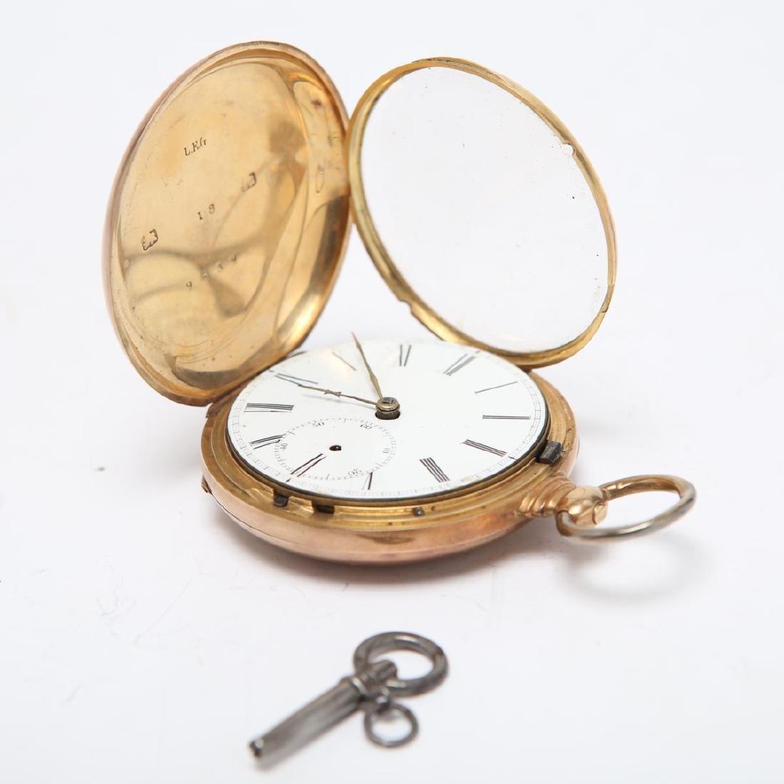 14K Gold Hunter Case Pocket Watch w Horse Antique - 2