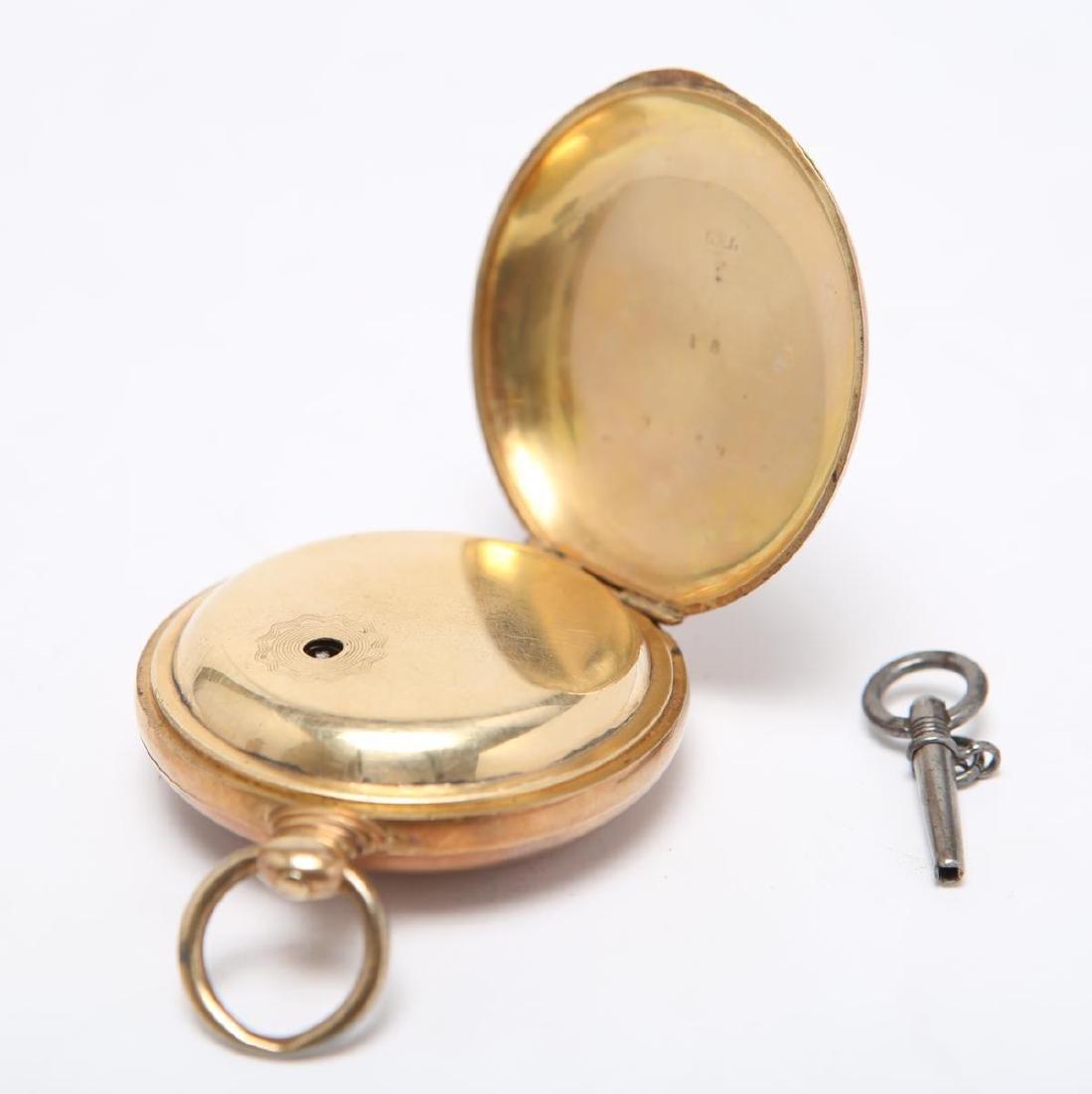 14K Gold Hunter Case Pocket Watch w Horse Antique - 3