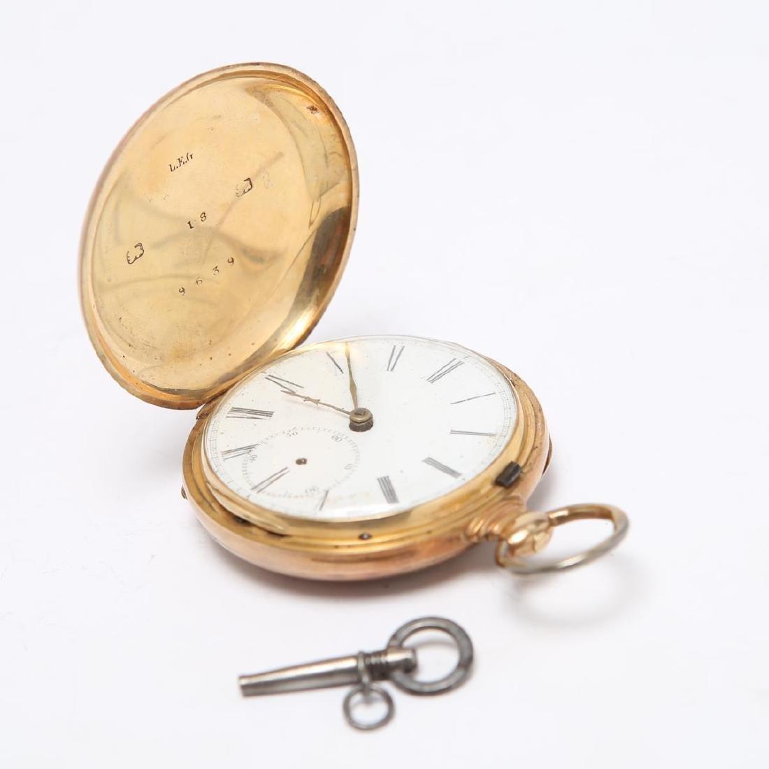 14K Gold Hunter Case Pocket Watch w Horse Antique - 4
