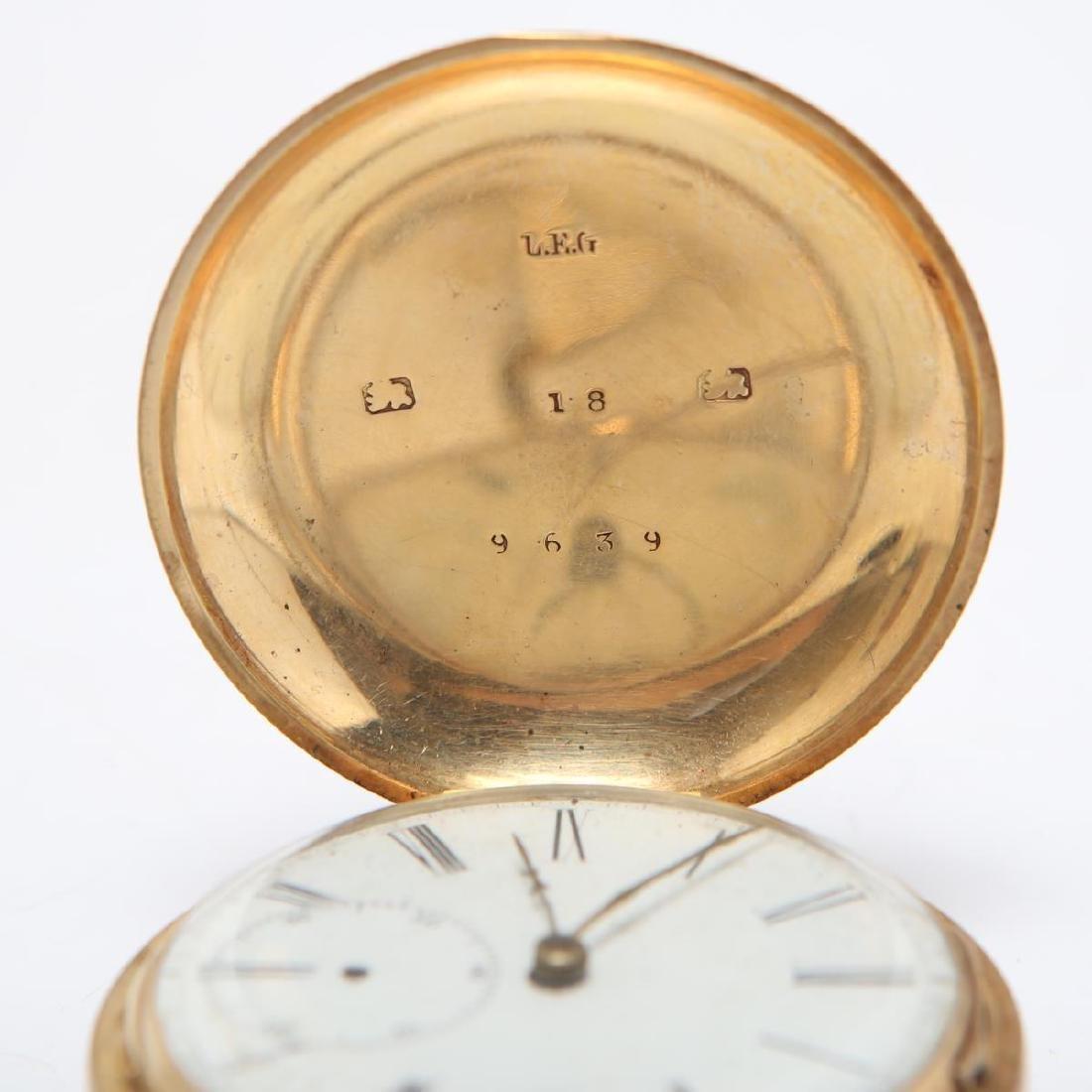 14K Gold Hunter Case Pocket Watch w Horse Antique - 5
