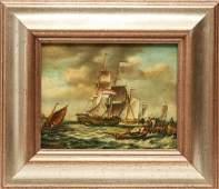 J. Clark Maritime Sailing Ships Oil on Board