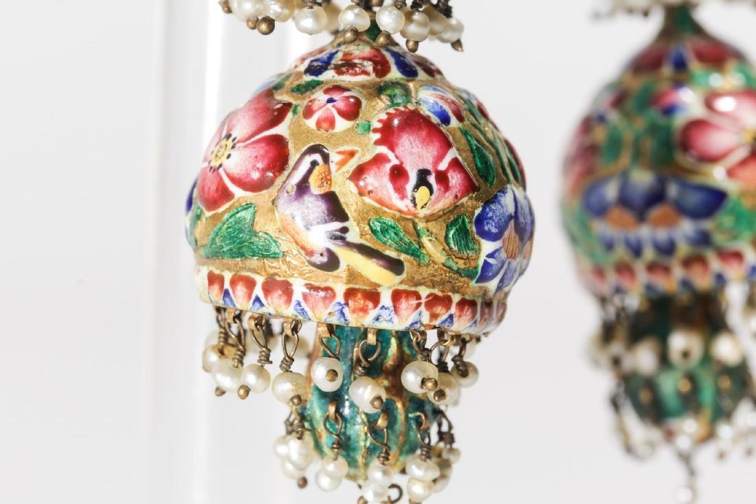 18K Gold Qajari Persian Enameled Earrings, Antique - 10
