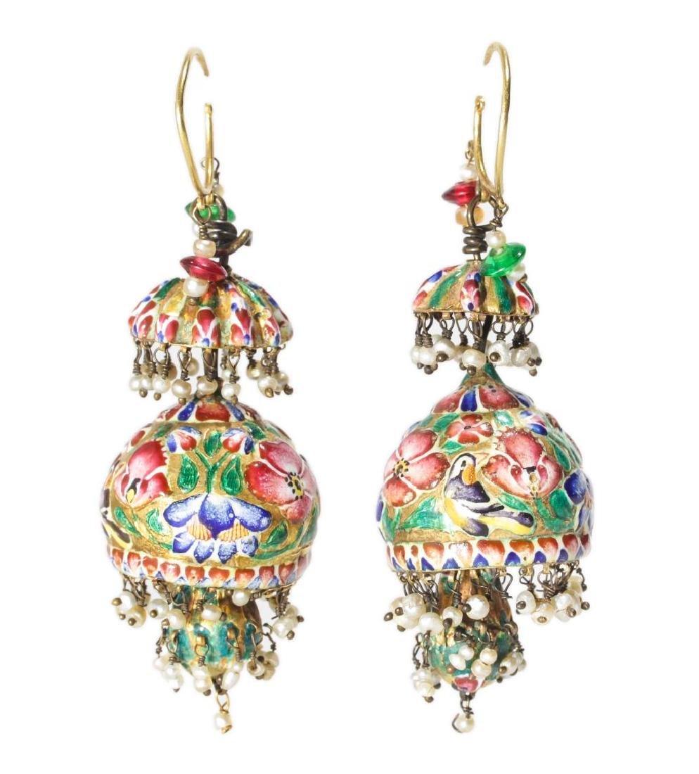 18K Gold Qajari Persian Enameled Earrings, Antique