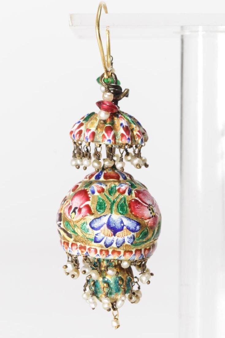 18K Gold Qajari Persian Enameled Earrings, Antique - 2