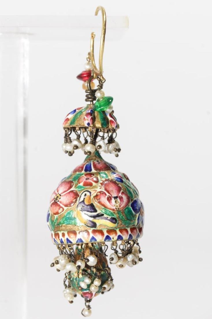 18K Gold Qajari Persian Enameled Earrings, Antique - 3