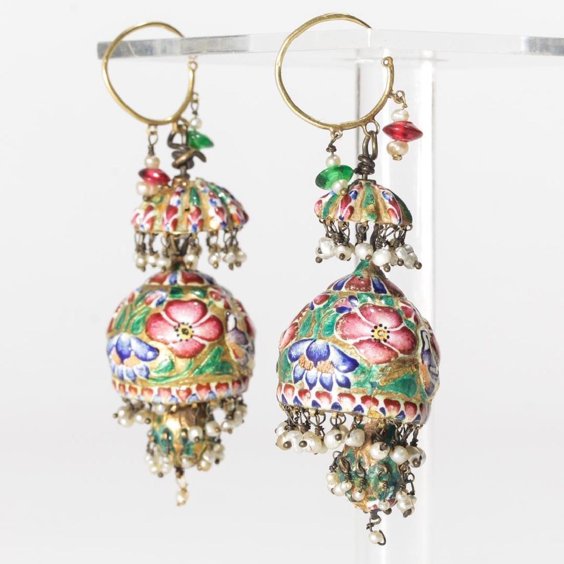 18K Gold Qajari Persian Enameled Earrings, Antique - 4
