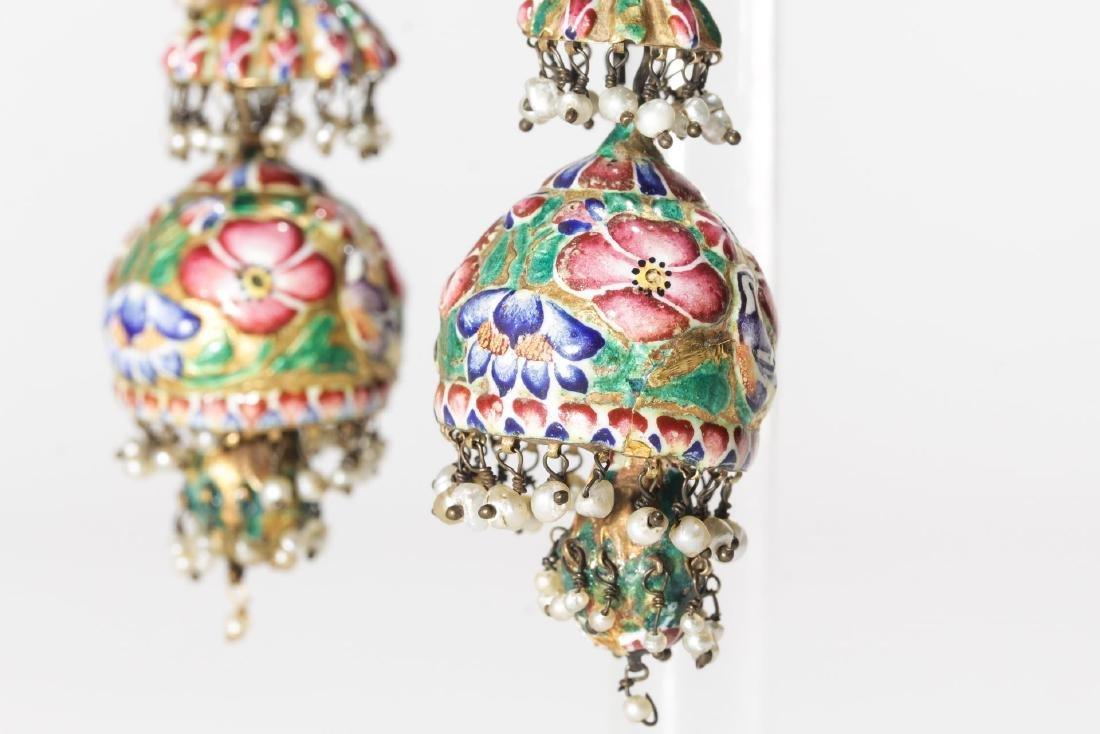18K Gold Qajari Persian Enameled Earrings, Antique - 5