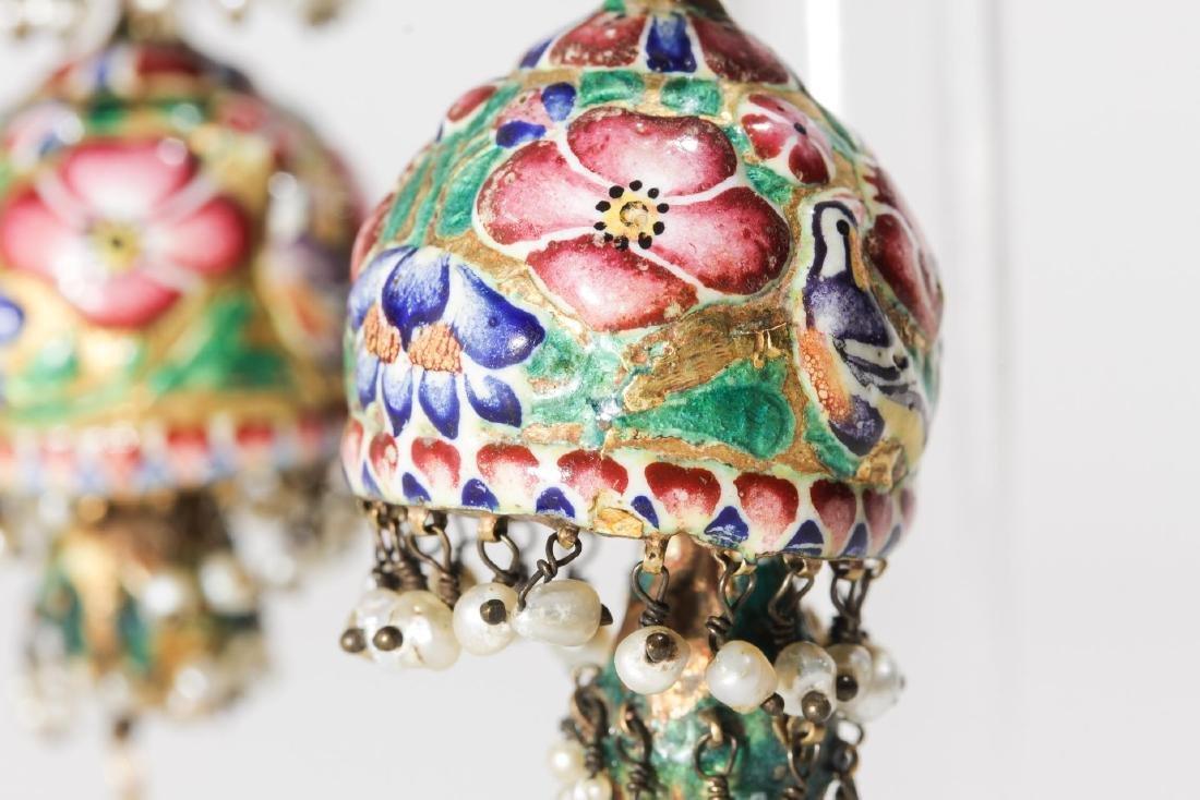 18K Gold Qajari Persian Enameled Earrings, Antique - 6