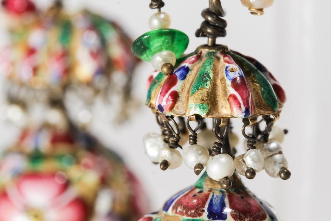 18K Gold Qajari Persian Enameled Earrings, Antique - 7