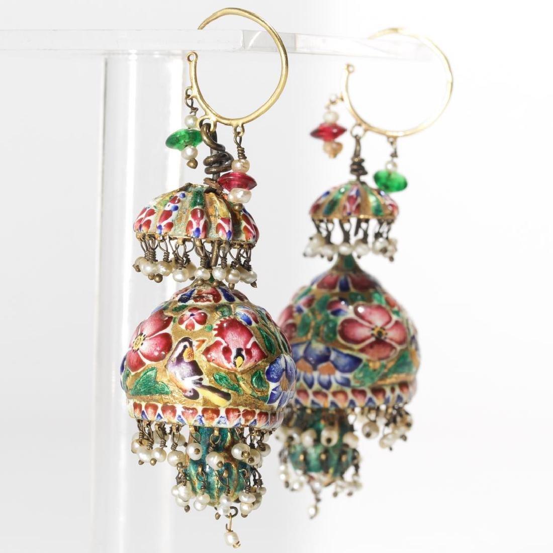 18K Gold Qajari Persian Enameled Earrings, Antique - 9