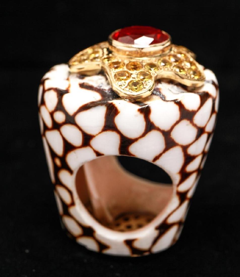 18K Gold Ruby Sapphires Starfish Motif Shell Ring - 2