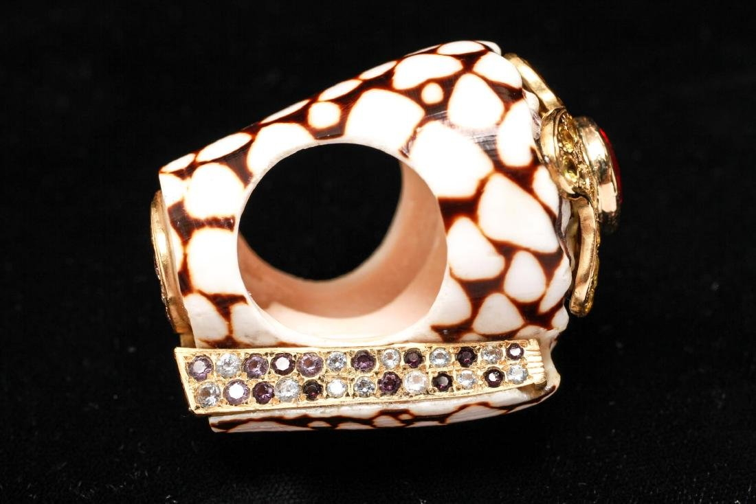 18K Gold Ruby Sapphires Starfish Motif Shell Ring - 3