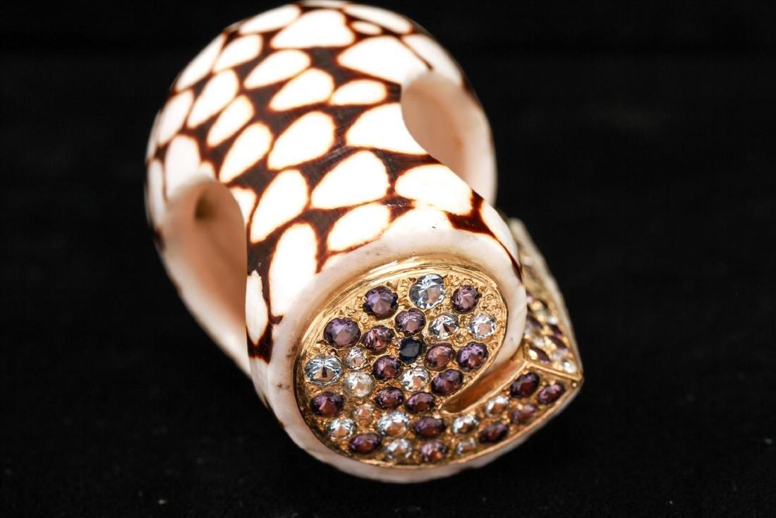18K Gold Ruby Sapphires Starfish Motif Shell Ring - 4