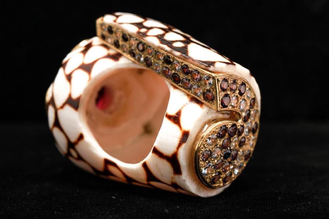 18K Gold Ruby Sapphires Starfish Motif Shell Ring - 5