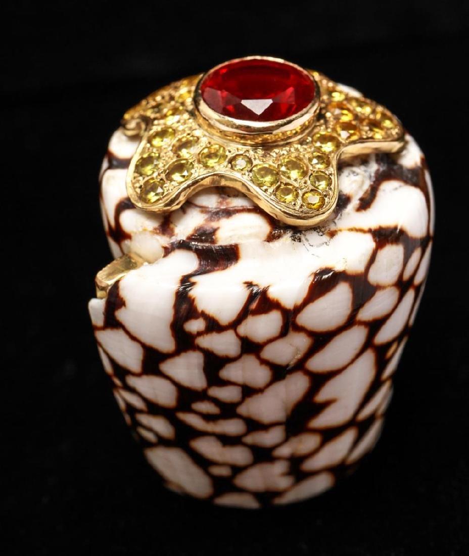 18K Gold Ruby Sapphires Starfish Motif Shell Ring - 6