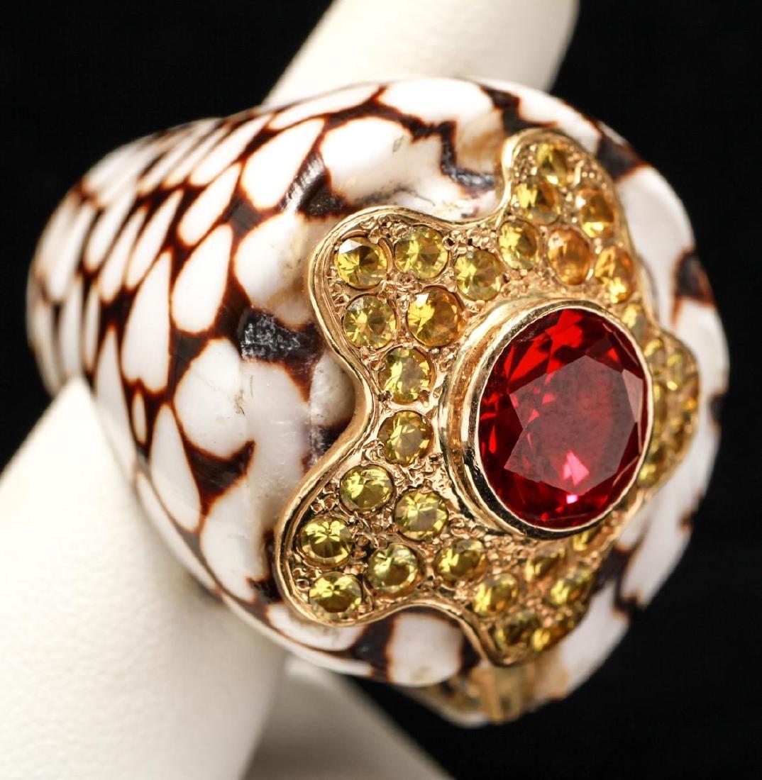 18K Gold Ruby Sapphires Starfish Motif Shell Ring - 8