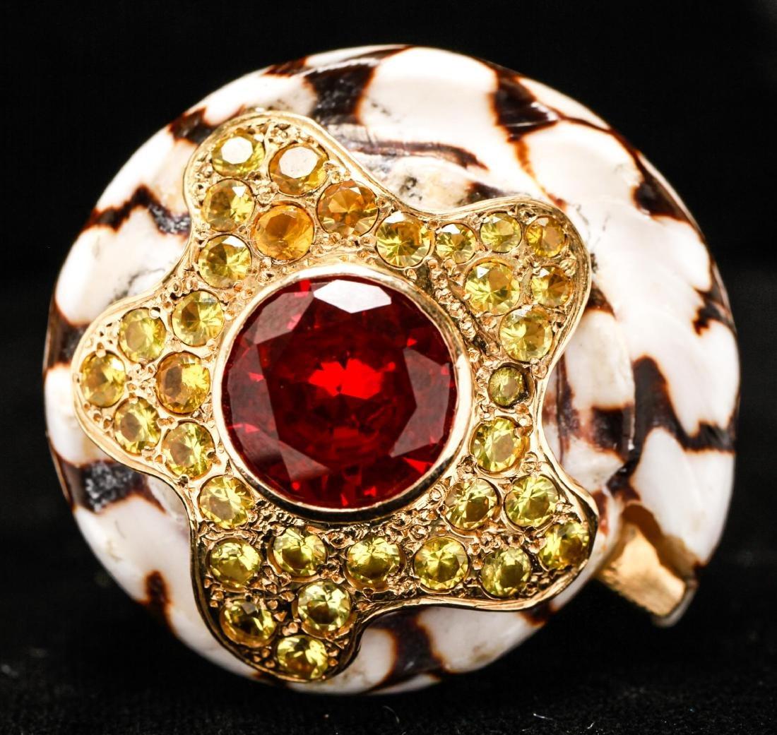 18K Gold Ruby Sapphires Starfish Motif Shell Ring - 9