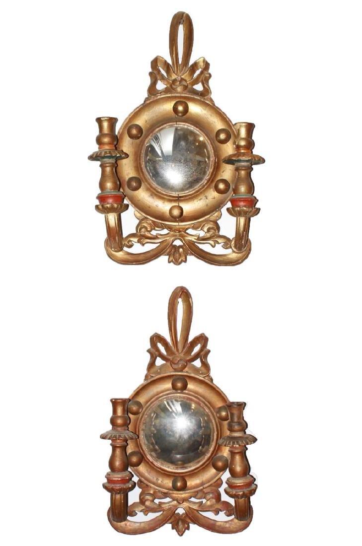 Continental Convex Mirror Sconces, Antique, Pair
