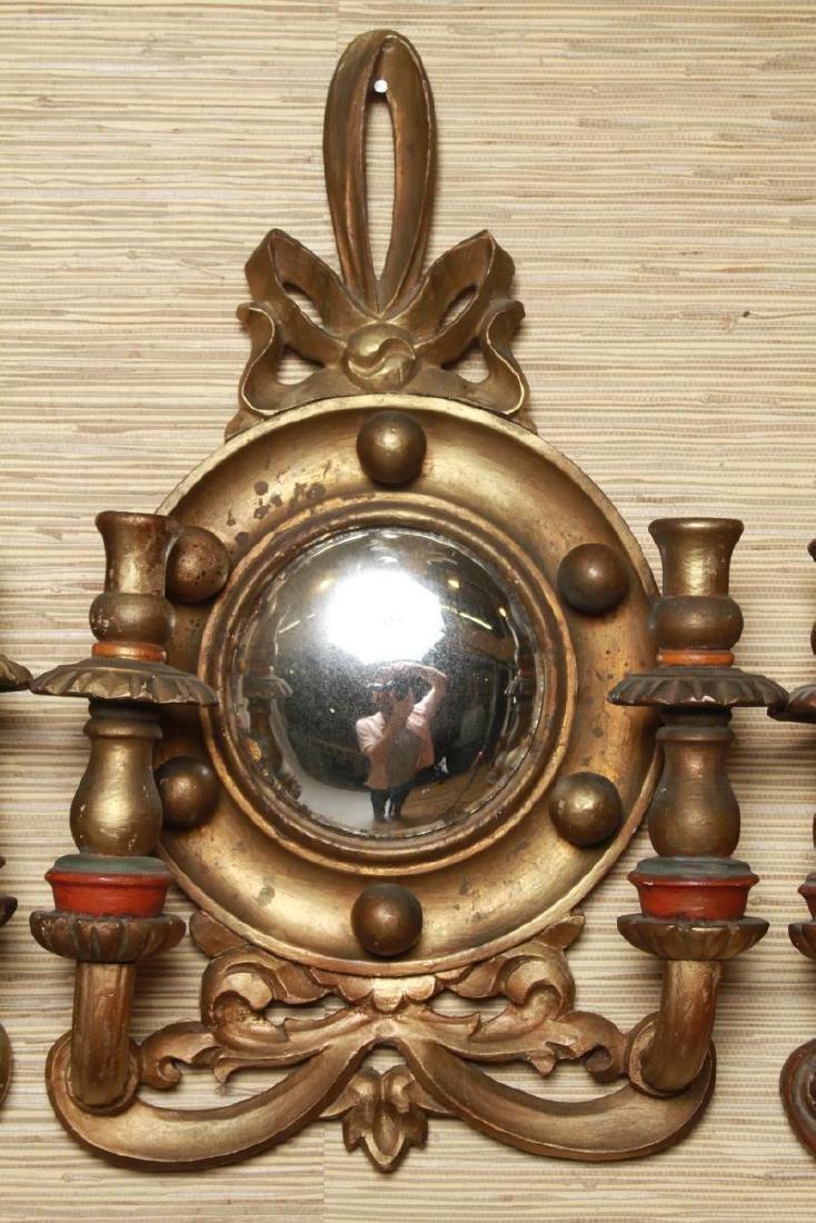 Continental Convex Mirror Sconces, Antique, Pair - 2