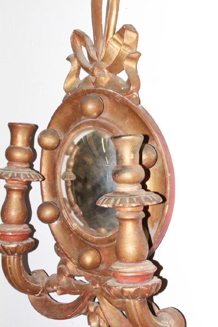 Continental Convex Mirror Sconces, Antique, Pair - 7