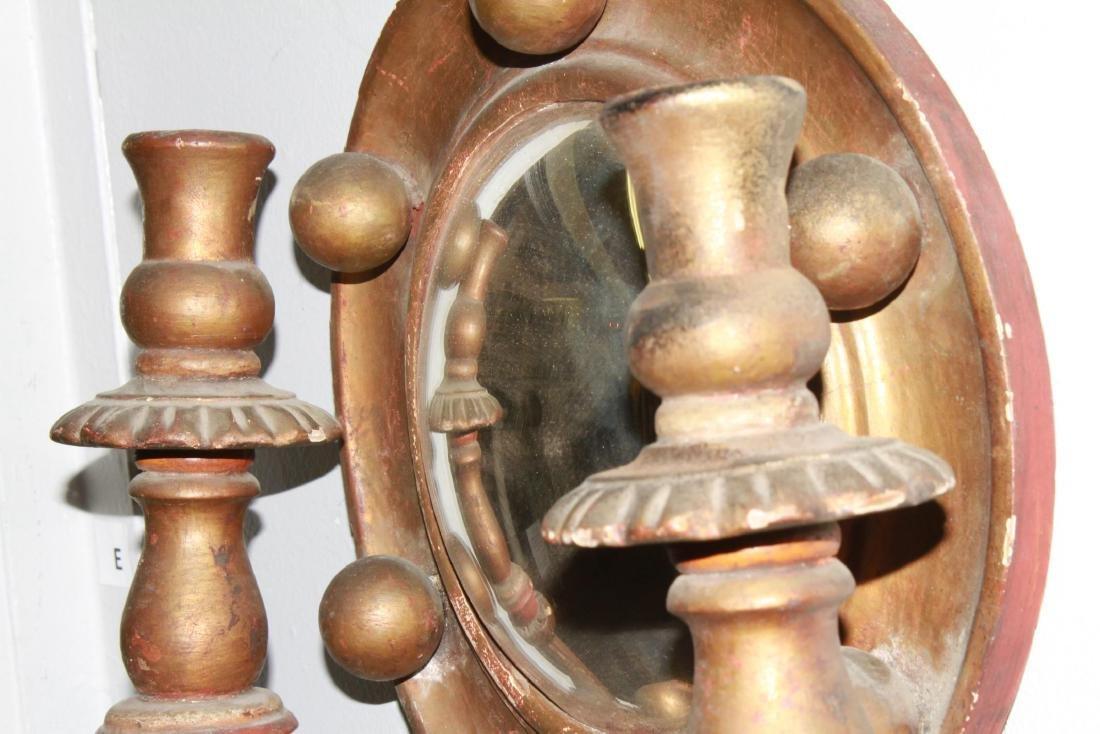 Continental Convex Mirror Sconces, Antique, Pair - 8