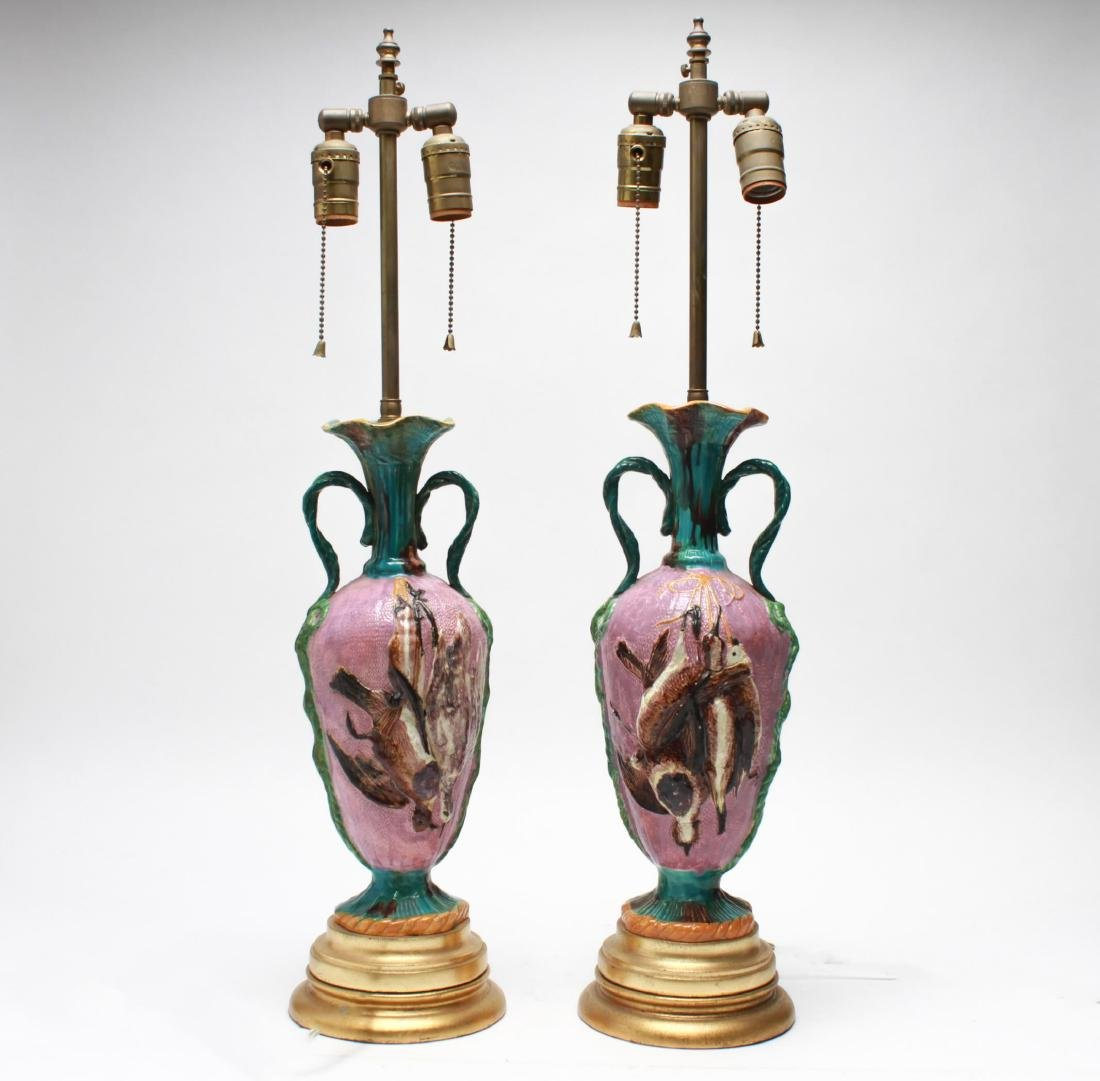 Majolica Hunt-Themed Game Birds Table Lamps, Pair