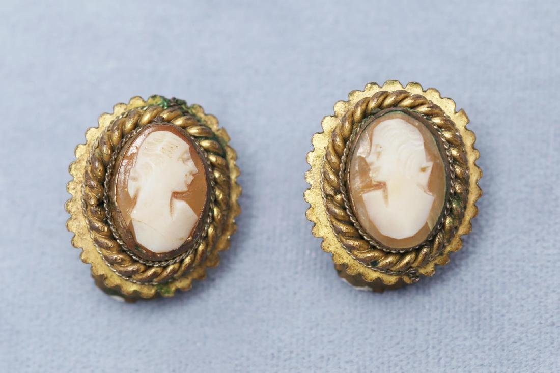 Cameo Shell in Gold-Tone Metal Earrings, Antique