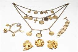 Gold Tone Jewelry MMA Brooches Necklaces Bracelets