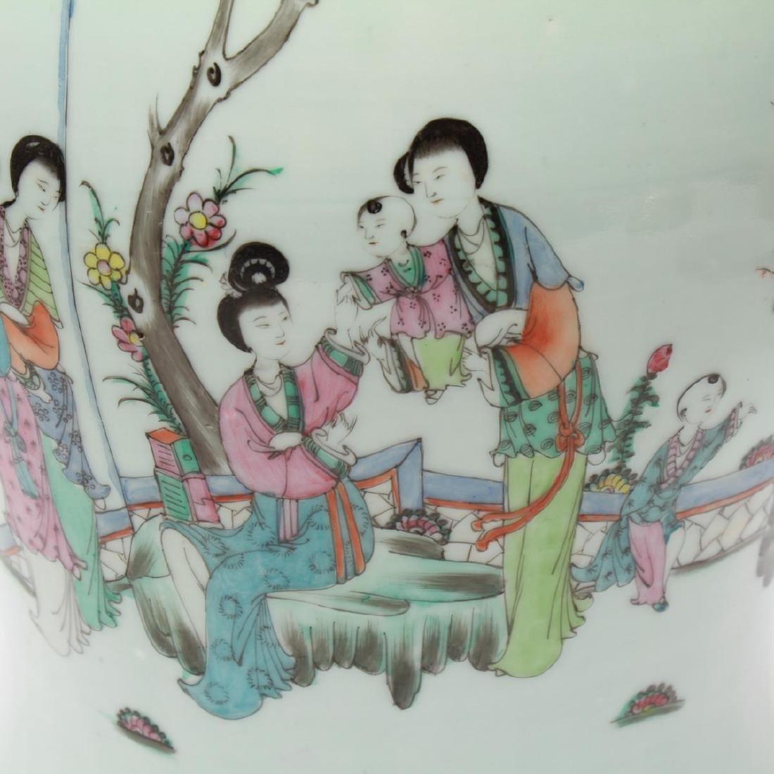 Chinese Famille Rose Baluster Ginger Jar w Lid - 3