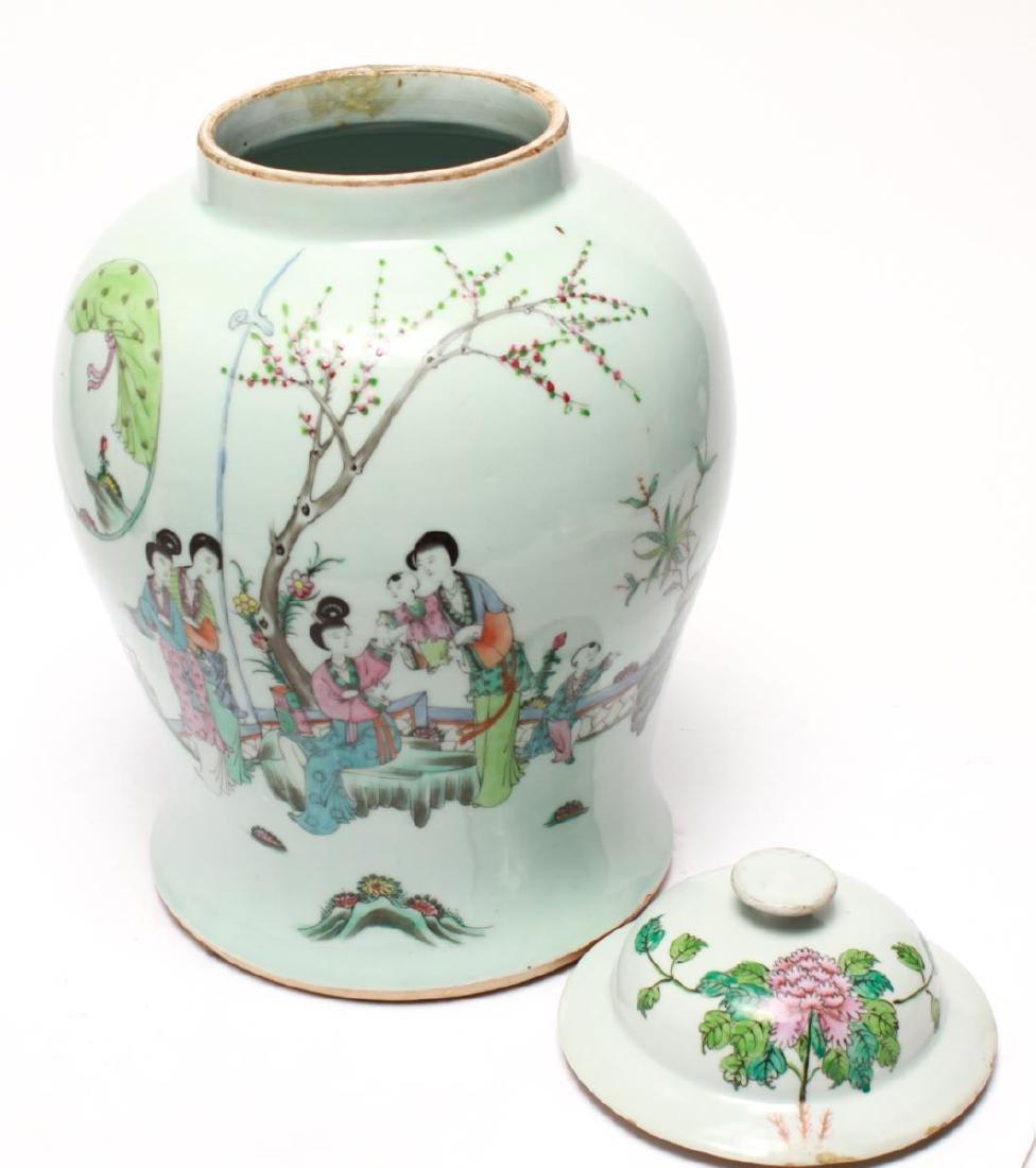 Chinese Famille Rose Baluster Ginger Jar w Lid - 5