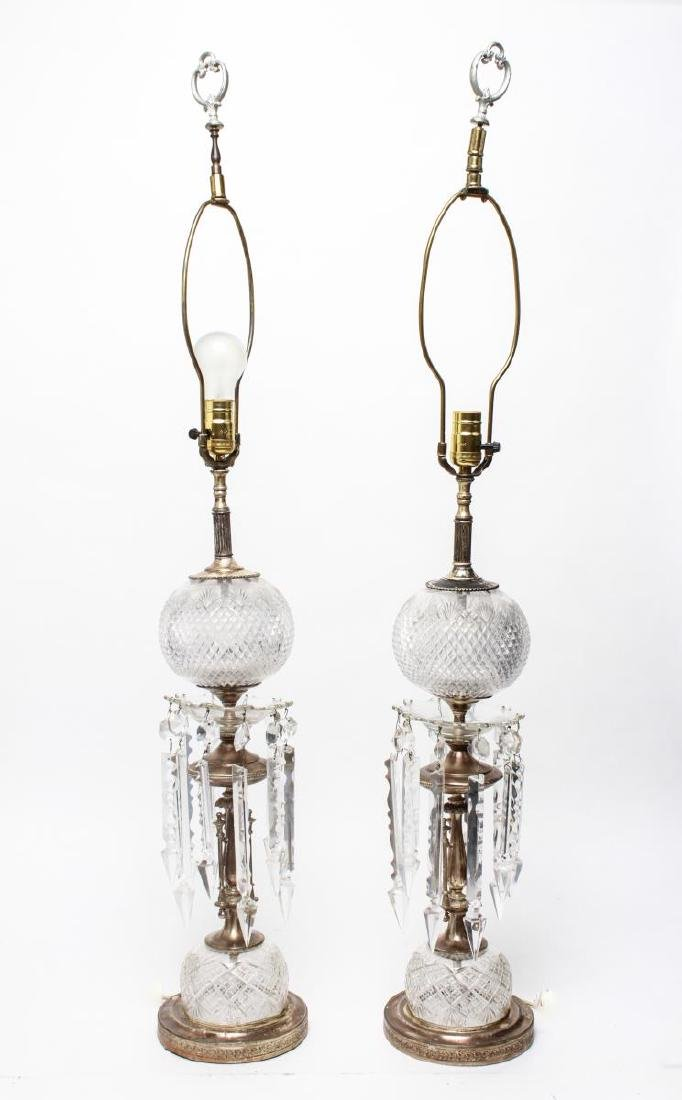 Hollywood Regency Cut Glass Prism Lamps, Pair