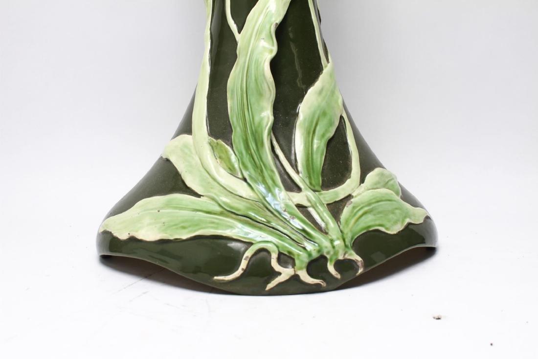 Art Nouveau Majolica Glazed Ceramic Plant Stand - 4