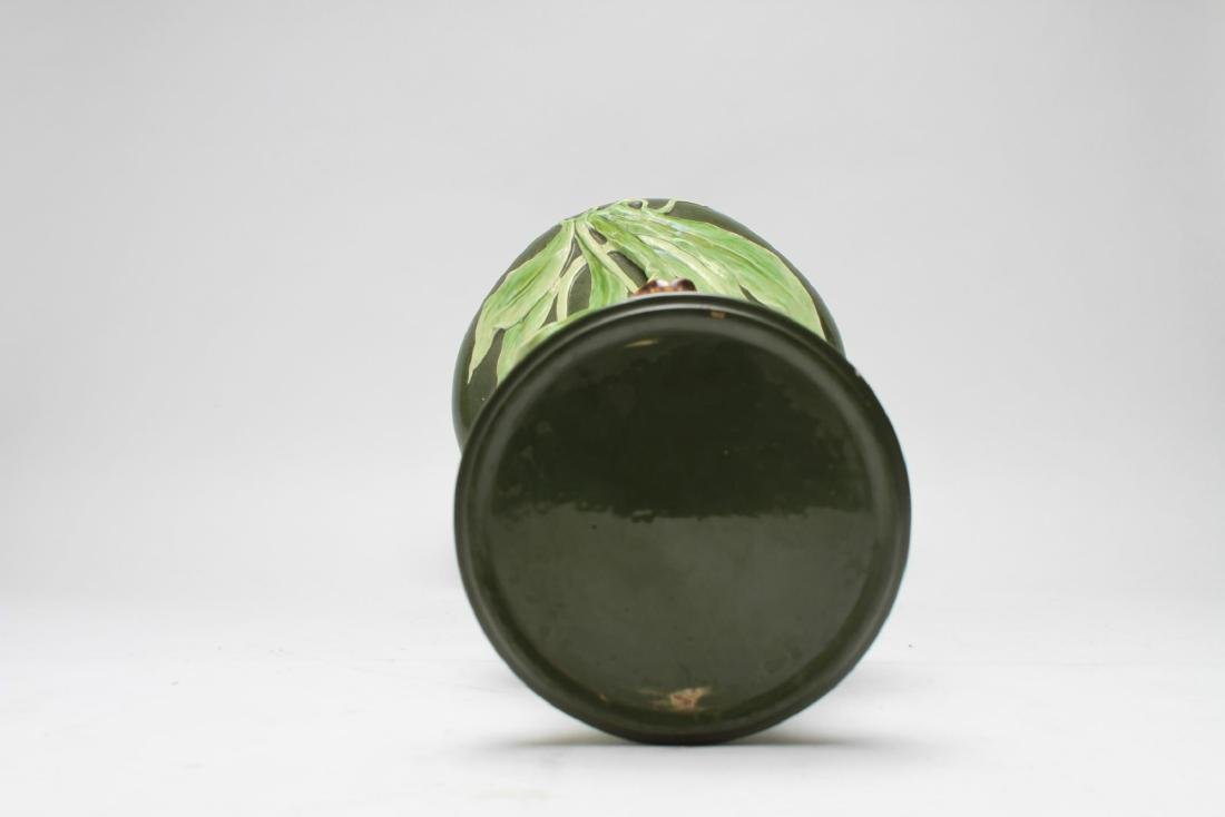 Art Nouveau Majolica Glazed Ceramic Plant Stand - 5