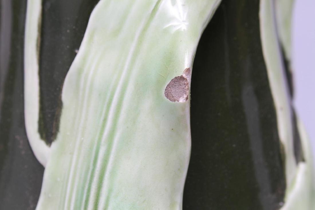 Art Nouveau Majolica Glazed Ceramic Plant Stand - 9