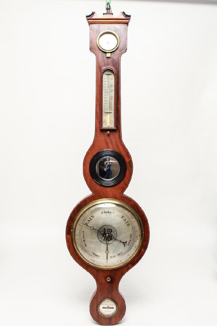 English Wheel Barometer, P. Balarini York, 19th C.