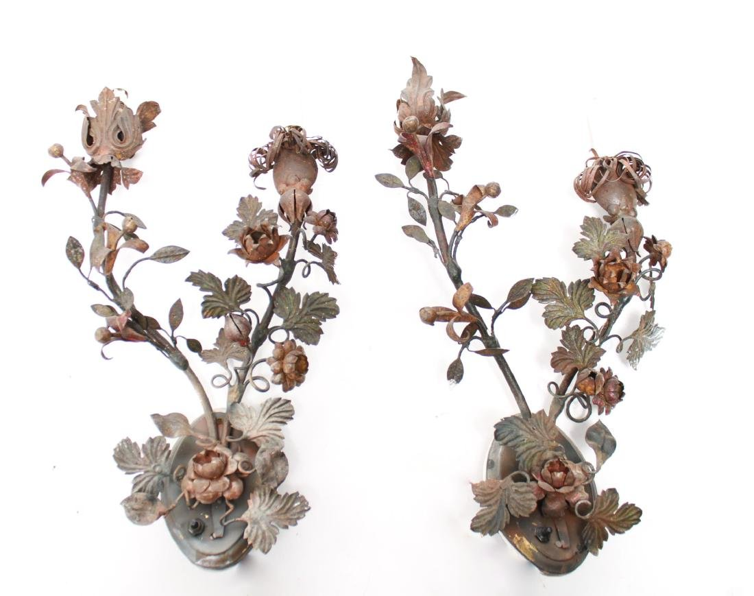 Regency Manner Painted Tole Wall Sconces, Pair