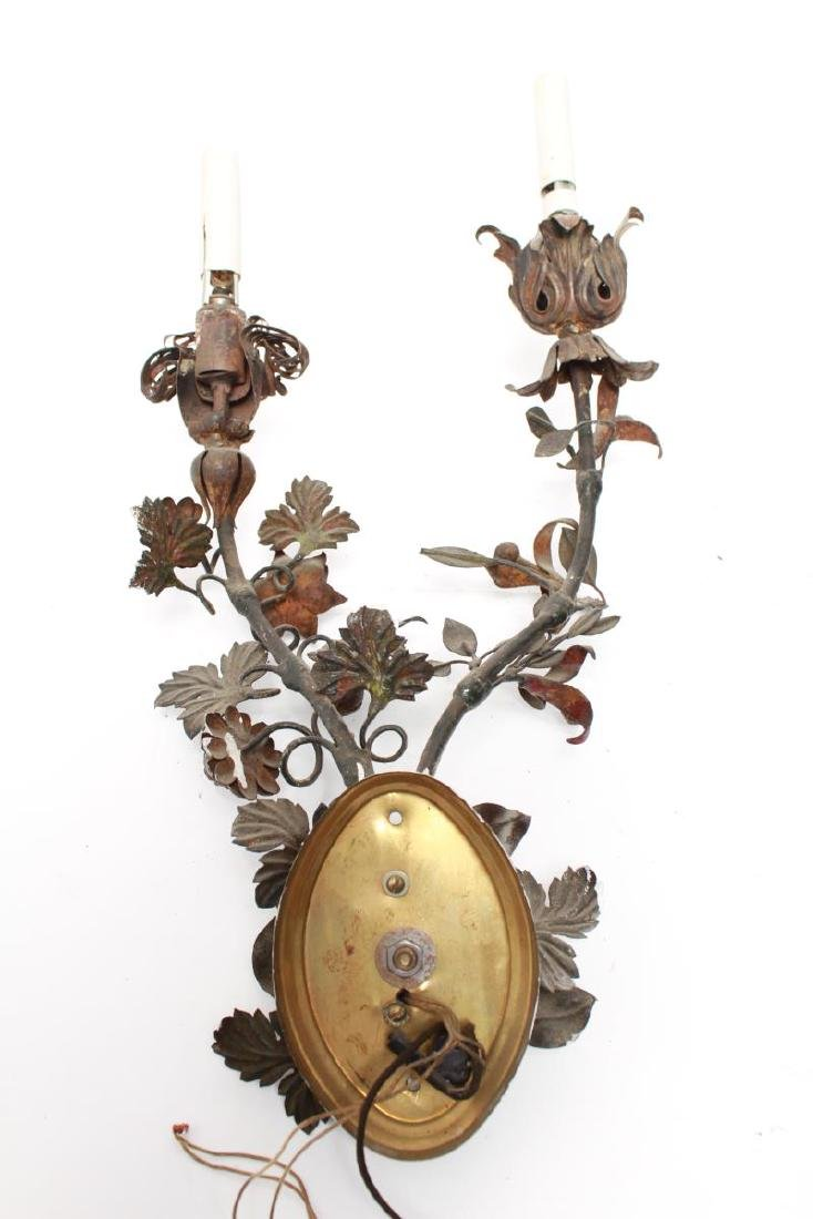 Regency Manner Painted Tole Wall Sconces, Pair - 9