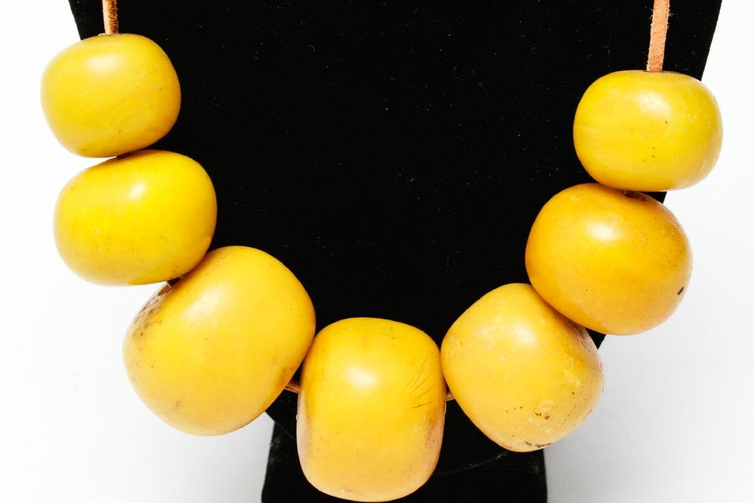 Faux Yellow Amber African Tribal Bead Necklace - 2