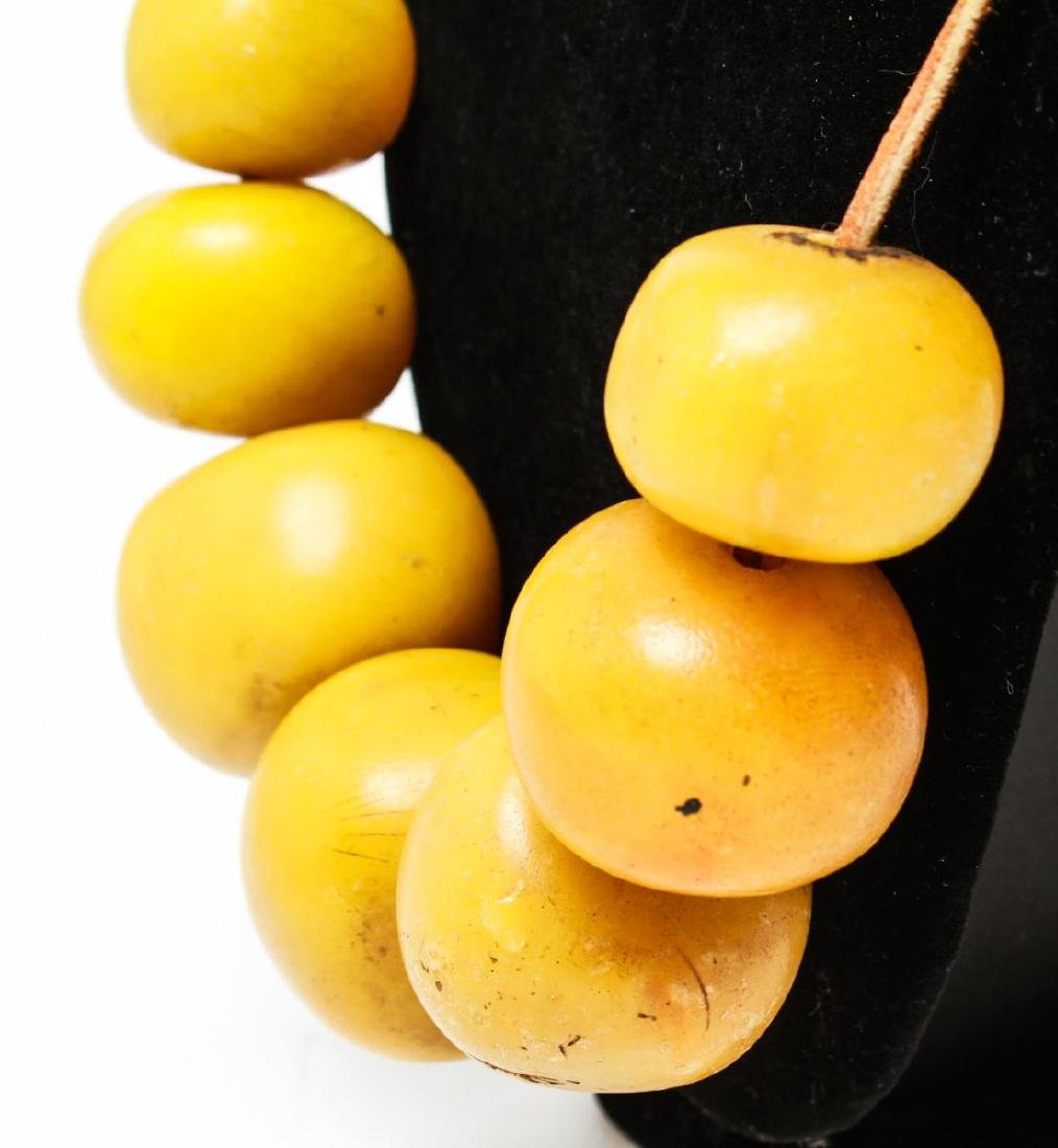 Faux Yellow Amber African Tribal Bead Necklace - 3