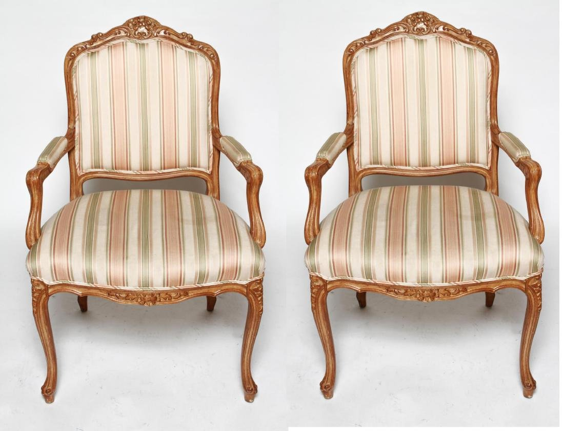 Louis XV Manner Whitewashed Arm Chairs, Pair