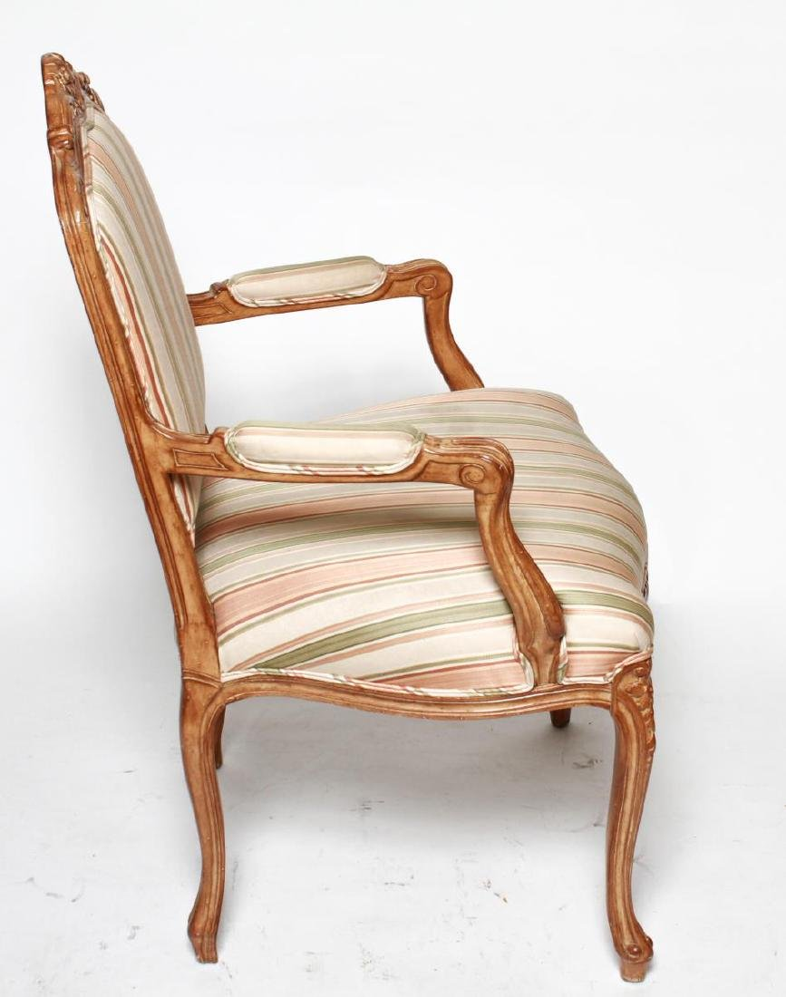 Louis XV Manner Whitewashed Arm Chairs, Pair - 2