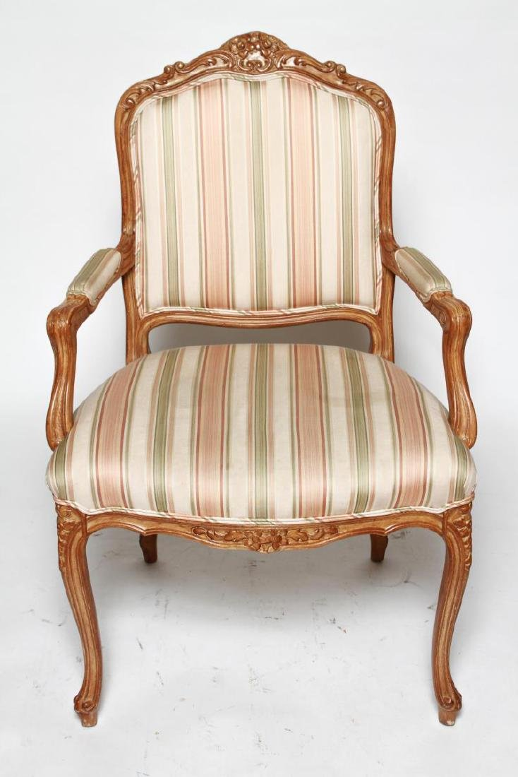 Louis XV Manner Whitewashed Arm Chairs, Pair - 3