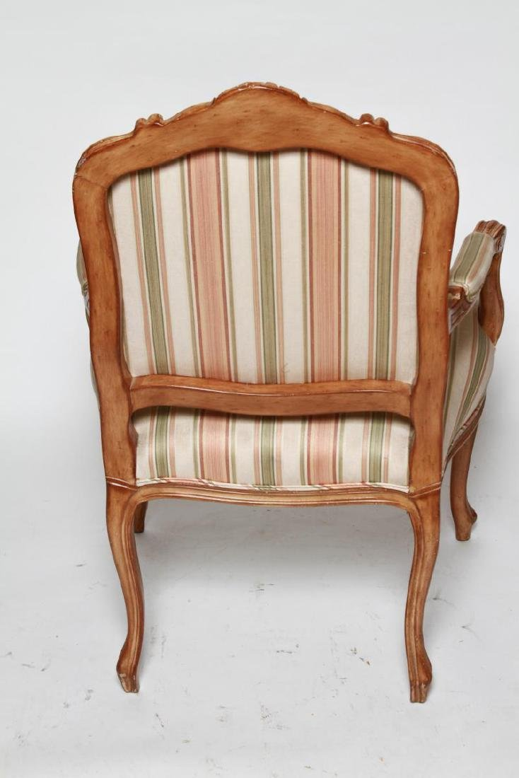 Louis XV Manner Whitewashed Arm Chairs, Pair - 5