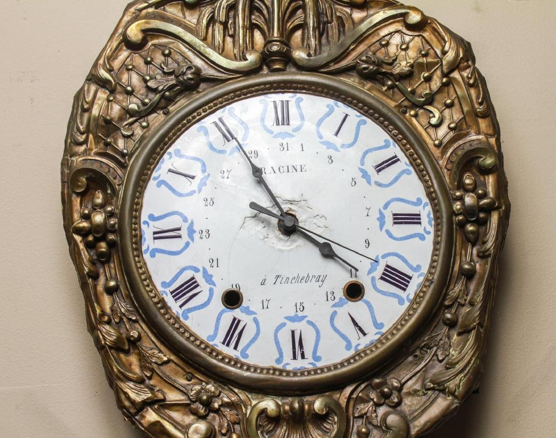 French Brass Morbier Wag on the Wall Clock 19th C. - 2